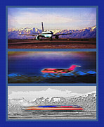 Business-travel Mixed Media Framed Prints - Airport - Airline Triptych Framed Print by Steve Ohlsen
