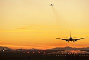 Jet Set Prints - Airport At Sunset Print by David Nunuk