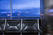 Glass Reflecting Posters - Airport Terminal Seating Poster by Roberto Westbrook
