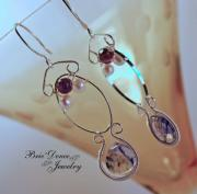 Drop Earrings Originals - Aiyn Omega Amethyst Pearl and Blue Lace Quartz Earrings by Brittney Brownell