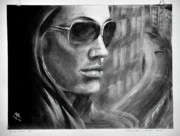 2009 Drawings Prints - A.Jolie in the movie Wanted. Print by Yuriy Krasnov