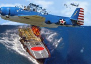 Friend Ship Prints - Akagi Torpedoed Print by Garry Staranchuk