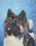 Pets Paintings - Akita in snow by L A Shepard
