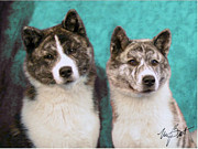 Brindle Digital Art Prints - Akitas on teal Print by Maxine Bochnia