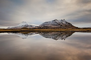 Reflection In Water Framed Prints - Akrafjall, Icelandic Mountain Framed Print by Johann S. Karlsson