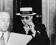 Criminals Photo Framed Prints - Al Capone, With A Cigar And A Big Framed Print by Everett