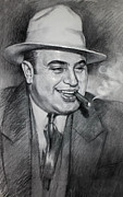 Charcoal Drawings Framed Prints - Al Capone  Framed Print by Ylli Haruni