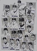 Baseball Drawings Posters - AL East Champions Red Sox newspaper poster Poster by Dave Olsen