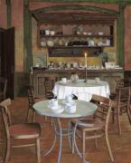 Red Cafe Posters - Al Lume Di Candela Poster by Guido Borelli