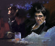 Scarface Pastels Framed Prints - AL Pacino snow Framed Print by Ylli Haruni