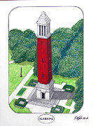 University Campus Drawings Originals - Alabama by Frederic Kohli