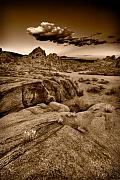 Formation Prints - Alabama Hills California B W Print by Steve Gadomski