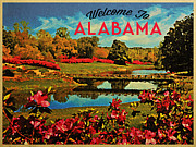 Alabama Posters - Alabama Mirror Lake Poster by Vintage Poster Designs