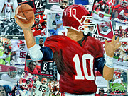 Alabama Quarter Back Passing Print by Michael Lee