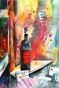 Wine Bottle Drawings - Alabastro Wine from Italy by Miki De Goodaboom