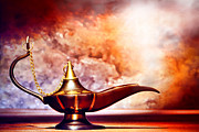 Reproduction Metal Prints - Aladdin Lamp Metal Print by Olivier Le Queinec