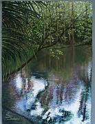 River Pastels Posters - Alafia River Reflection Poster by Susan Jenkins
