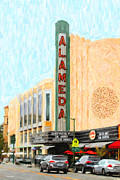 Movie Retro Art Framed Prints - Alameda Theater Framed Print by Wingsdomain Art and Photography