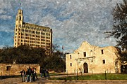 Sat Digital Art - Alamo in Alamo Plaza by Sarah Broadmeadow-Thomas