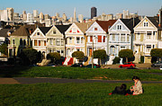 James Kirkikis Art - Alamo Square San Francisco by James Kirkikis