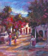 Cobblestone Paintings - Alamos Street by Joan  Jones