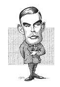 Caricature Portraits Posters - Alan Turing, British Mathematician Poster by Gary Brown