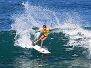 Hawaiian Posters - Alana Blanchard Surfing Hawaii Poster by Paul Topp