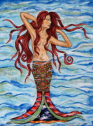 Modern Folk Art Paintings - Alannis by Rain Ririn