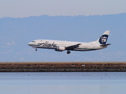 Airplane Landing Framed Prints - Alaska Airlines Jet Airplane At San Francisco International Airport SFO . 7D12232 Framed Print by Wingsdomain Art and Photography