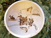 Alaska Moose Pyrography - Alaska Birch Bowl by Adam Owen