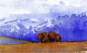 Cottonwood Paintings - Alaska Cottonwoods by Carolyn Doe