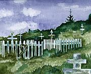 Kodiak Paintings - Alaska Graveyard  by Brenda Owen