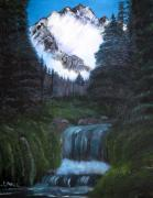 Snowy Trees Paintings - Alaska Landscape by Cindi Lane