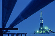 Oil Rigs Prints - Alaska Oil Pipeline And Oil Rig Print by Kenneth Garrett