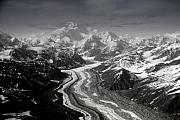 White And Black Landscapes Posters - Alaska Range and Denali Poster by Alasdair Turner