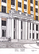 Pen And Ink Framed Prints Art - Alaska State Capitol by Frederic Kohli