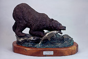 Fishing Sculpture Originals - Alaskan Angler by Peggy Detmers