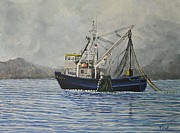 Boats In Water Painting Posters - Alaskan Fishing Poster by Reb Frost