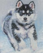 Alaskan Paintings - alaskan Malamute pup in snow by L A Shepard