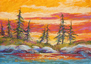 Side Pastels Prints - Alaskan Skies Print by Marion Rose