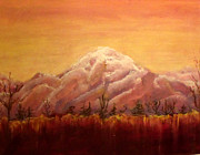 Snow Scene Pastels Framed Prints - Alaskan Sunset Framed Print by Patricia Halstead