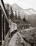 Black And White Pyrography Posters - Alaskan Train Poster by Will Edwards