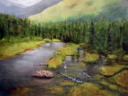 Beaver Painting Prints - Alaskan Wilderness Print by Linda Hiller