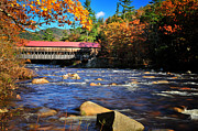 Fall River Scenes Framed Prints - Albany Covered Bridge - New Hampshire Autumn Framed Print by Thomas Schoeller