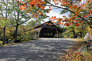Red Leaves Photos - Albany  Covered Bridge  by George Oze