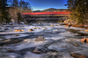 Red Roof Framed Prints - Albany Covered Bridge-White Mountains of New Hampshire Framed Print by Thomas Schoeller