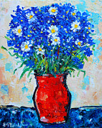 Interior Still Life Painting Metal Prints - Albastrele Blue Flowers And Daisies Metal Print by Ana Maria Edulescu