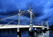 Cloudy Sky Posters - Albert bridge London Poster by Jasna Buncic