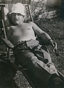 Candid Portraits Metal Prints - Albert Einstein 1879-1955, Sunbathing Metal Print by Everett
