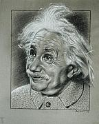 Back And White Posters - Albert Einstein Poster by Anastasis  Anastasi